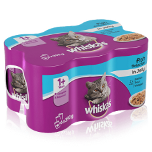 Whiskas Mixed Jelly Cans x 6 390g