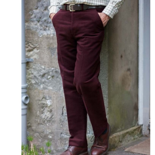 Hoggs of Fife Monarch Moleskin Mens Trousers - Old Claret