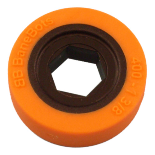 "BaneBots Wheel, 1-3/8"" x 0.4"", 1/2"" Hex Mount, 40A, Black/Orange"