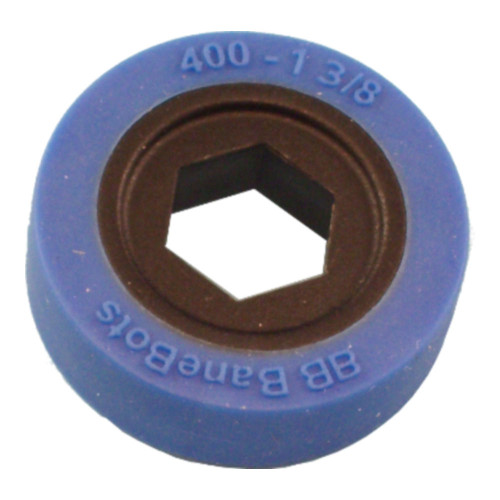 "BaneBots Wheel, 1-3/8"" x 0.4"", 1/2"" Hex Mount, 50A, Black/Blue"