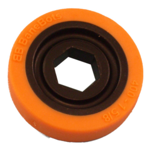 "BaneBots Wheel, 1-5/8"" x 0.4"", 1/2"" Hex Mount, 40A, Black/Orange"