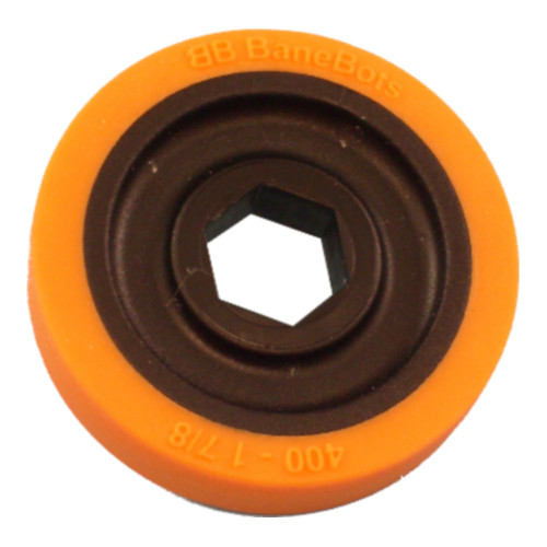 "BaneBots Wheel, 1-7/8"" x 0.4"", 1/2"" Hex Mount, 40A, Black/Orange"