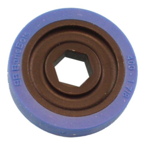"BaneBots Wheel, 1-7/8"" x 0.4"", 1/2"" Hex Mount, 50A, Black/Blue"
