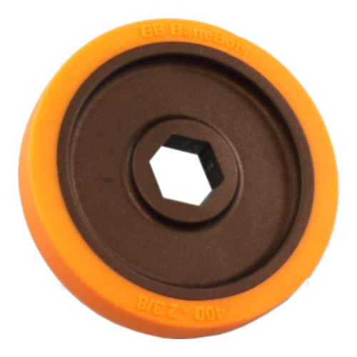 "BaneBots Wheel, 2-3/8"" x 0.4"", 1/2"" Hex Mount, 40A, Black/Orange"