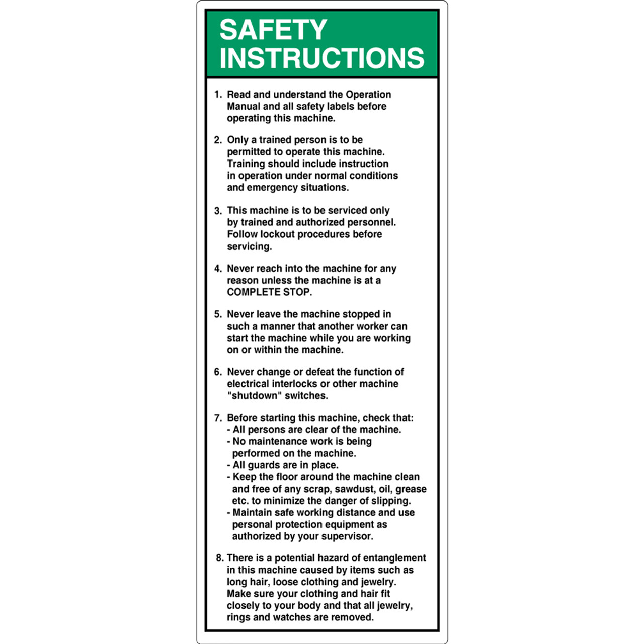 Safety Instruction/Read and Understand (7002-DESVP-) Label on
