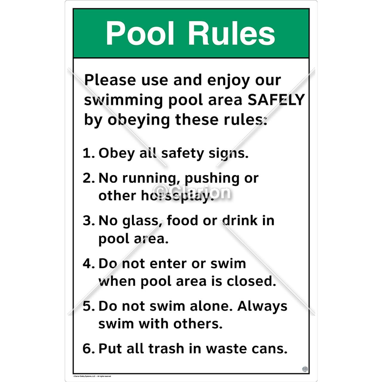 Pool Rules Please Use Sign (WSS1018-e)