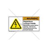 Warning/Hazardous Voltage Inside Label (H6010-478WHPI)