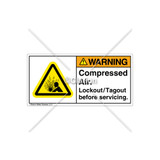 Warning/Compressed Air Label (H4005-524WHTL)