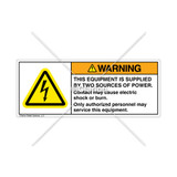 Warning/This Equipment is Supplied Label (H6010-483WHPL)