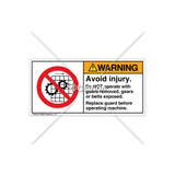 Warning/Avoid Injury Label (H6061-H6WHPK)