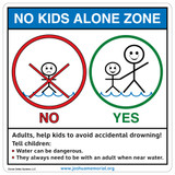 No Kids Alone Zone  Sign (WS1050-1)