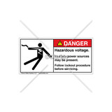 Danger/Hazardous Voltage Label (5025-Z2DHPJ Wht)
