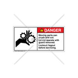 Danger/Moving Parts Can Crush Label (1014-M4DHPJ Wht)
