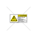 Caution/Rish of Fire and Shock Label (C5758-20)