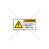 Warning / Use 1 AWG Label (C5758-17)
