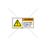 Warning / Use 2/0 AWG Label (C5758-18)
