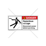 Danger/Hazardous Voltage Label (5025-18DHBK Wht)