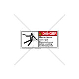 Danger/Hazardous Voltage Label (5025-23DHPK Wht)