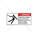 Danger/Hazardous Voltage Label (5025-N5DHBK Wht)