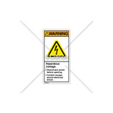 Warning/Hazardous Voltage Label (H6010-208WVPK)
