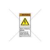 Warning/Risk of Electric Shock Label (H6010-448WVPK)