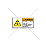 Warning/Risk Of Electric Shock Label (H6010-U36WHPK)