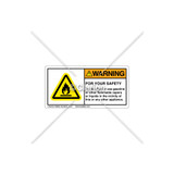 Warning/For Your Safety Label (H6020-U71WHPK)