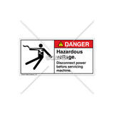Danger/Hazardous Voltage Label (5025-24DHPL Blk)