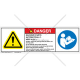 Danger/Machine Starts Automatically Label (C208-14)