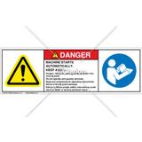 Danger/Machine Starts Automatically Label (C208-14)