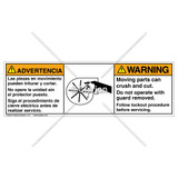 Warning/Moving Parts Label (BS1027-02WHPS Wht)