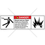 Danger/Shock and Arc Flash Label (5025/6006-263DHBU)