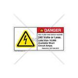 Danger/Arc Flash & Shock Label (H6010-404DHPL)