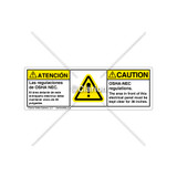 Caution/Osha-Nec Regulations Label (BSM-H6014-FA9CHPT)