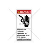 Danger/Hazardous Voltage Label (1023-T7DVPJ Wht)