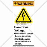 Warning/Hazardous Voltage Label (H6010-208WVPJ)