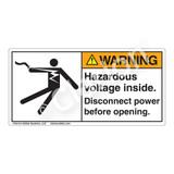 Warning/Hazardous Voltage Label (5025-H3WHP)