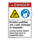 Danger Rotating Paddles Label (EMC 10)