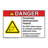Danger Overhead Electrocution Hazard Label (EMC 15)
