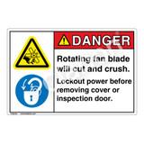 Danger/Rotating Fan Blade Label (EMC 21 ) )