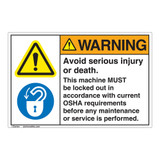 Warning Avoid Serious Injury Label (EMC 402)