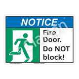 Notice Fire Door Sign (F1097-)