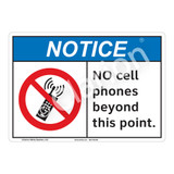 Notice No Cell Phones Sign (F1103-)