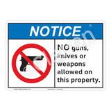 Notice No Guns Sign (F1104-)