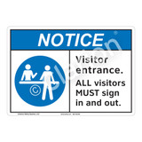 Notice Visitor Entrance Sign (F1121-)