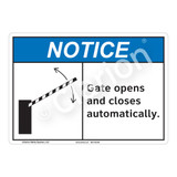 Notice Gate Opens Sign (F1129-)