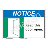 Notice Keep Door Open Sign (F1130-)