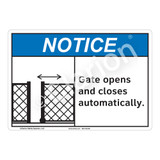 Notice Gate Opens Sign (F1132-)