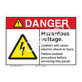 Danger Hazardous Voltage Sign (F1149-)