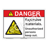 Danger Explosive Materials Sign (F1159-)